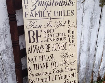 Custom Personalized Family Name Family Rules Rustic Distressed Pallet Style Wooden Sign 12.5x24 Housewarming Wedding Anniversary Gift