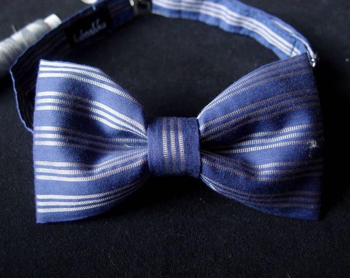 Blue Bow Tie, Evening Striped Bow Tie, Blue Silver Pre Tied Bow Tie, Birthday Bow Tie, Bow Tie for Groom, Wedding Bow Tie, Groomsmen Bow Tie