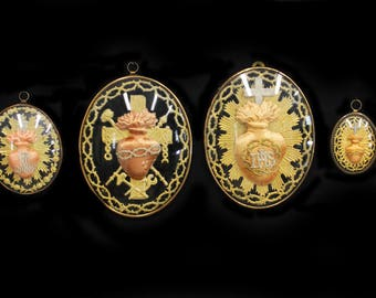 MoonsCuriousItems-Collection of Beautiful Antique French Ex Votos -Sacred Flaming Hearts, Various Sizes Under Domed Glass- Made by Nuns
