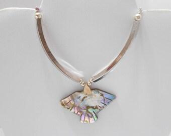 "Vintage 17"" Abalone Bird Pendant Necklace (5139)"