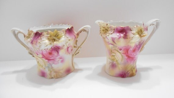 Vintage Sugar & Creamer RS Prussia--Gorgeous! No Lid For Sugar (18-C)