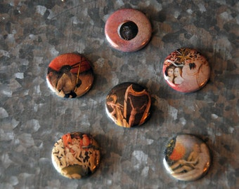 """Hieronymus Bosch 1"""" Magnet or Pinback ButtonSet - Set Of 6 Includes Organza Bag - Ready To Ship"""
