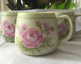 Set of 3 Hand Painted  Mugs Cottage and Shabby Chic Artist Signed Pink Roses