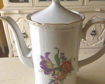 J.W.K. Western Germany Coffee Pot with Dresden Style Flowers