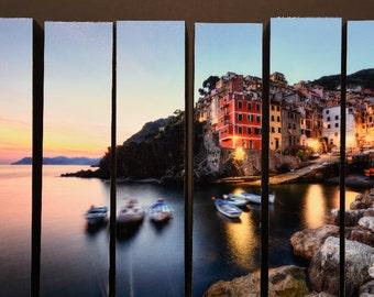 Riomaggiore Night, Cinque Terre, Italy, McArthur Vertical Wood Blocks
