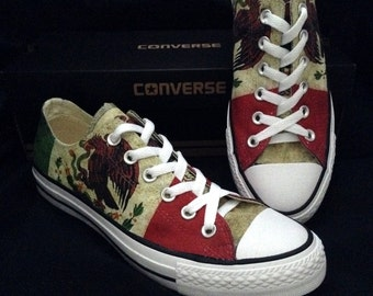 Custom Converse Low Top Mens Ladies Mexico Pride Country Flag Print distressed  w/ Swarovski Crystal Rhinestone Chuck Taylor Sneakers Shoes