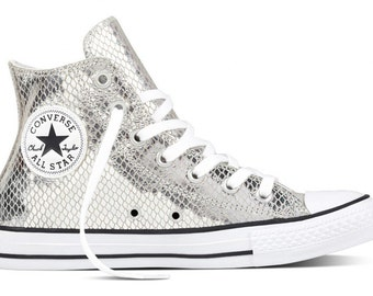 Silver Leather Converse High Top Snakeskin w/ Swarovski Crystal rhinestone Custom Kicks GlassSlipper Chuck Taylor All Star Girl Sneaker Shoe