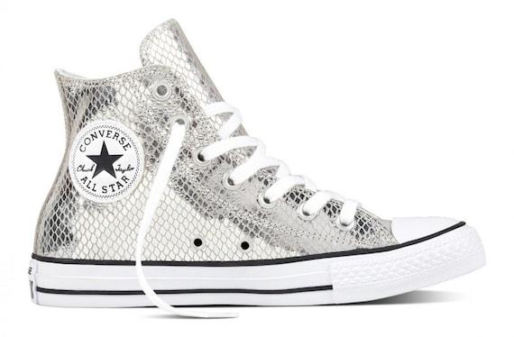 Silver Leather Converse High Top Snakeskin w/ Swarovski Crystal rhinestone Custom Kicks GlassSlipper Chuck Taylor All Star Girl Sneaker Shoe