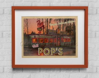 Pops Riverdale Travel Poster | Riverdale poster | Vintage look print | Vintage travel | Fantasy travel poster