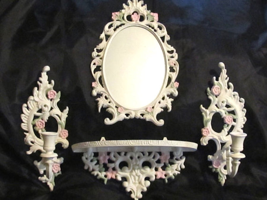Shabby Chic Décor ORNATE OVAL MIRROR Six Piece Set Cottage
