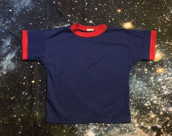 Vintage Blue and Red Ringer Crop Top Shirt