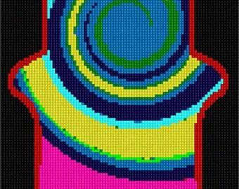 Needlepoint Kit or Canvas: Hamsa Tie Dye