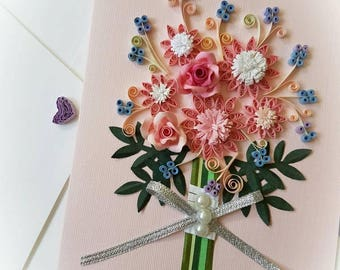 Paper Quillied beautiful Flower Bouquet - Valentine. Wedding card,Mothers day.love Birthday,Congratulations , Anniversary.Wall art.