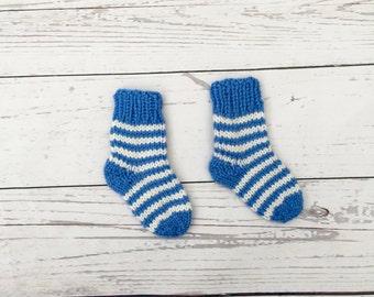 knitted baby socks | newborn socks | baby boy socks | stripy baby socks | baby shower gift | blue hand knit socks