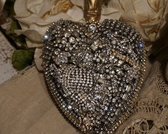 Metal rhinestone covered heart large French Santos sacred heart wall hanging hook handmade shabby cottage original ooak anita spero design