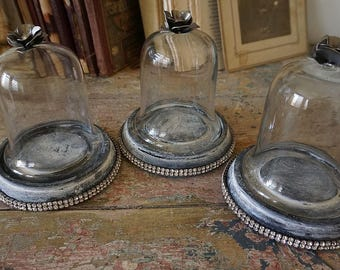 Ornate small bell jar domes rhinestone base set of 3 French farmhouse glass displays shabby painted grouping home decor anita spero design