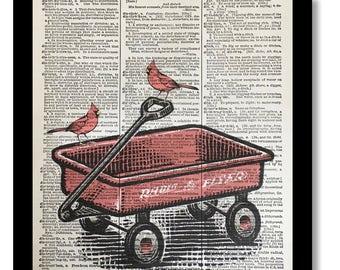 Radio Flyer Wagon, Cardinal Bird Prints, Vintage Wagon Art, Red Wagon Prints, Dictioanry Page Prints, Dictionary Art Print, 8x10, Vintage