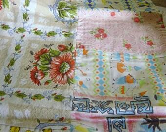 Vintage Cotton Patchwork Baby Cot Blanket Quilt 1960's