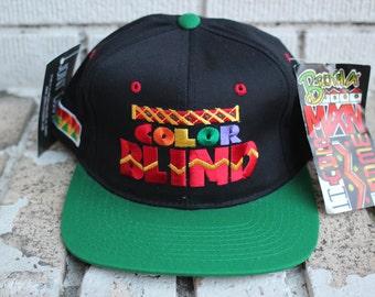 """Deadstock BROTHAMAN """"Color Blind"""" Snapback Hat Headwear Vtg Vintage Hip Hop Afrocentric Inspired Brand"""