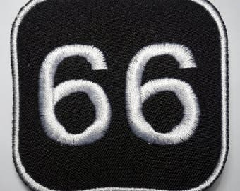Number 66  - embroidered patch, BUY3 GET4, 2,4 X 2,4 INCH