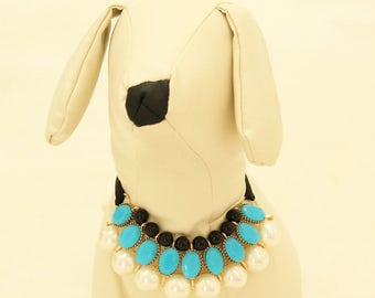 Blue Pearl and Rhinestone Dog Necklace, Dog jewelry- Pet accessories, Pearl Necklace, Dog beaded Necklace