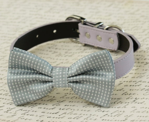 Gray Bow tie collar -Mauve and Gray - Color of year - Pet Wedding accessory - Dog collar