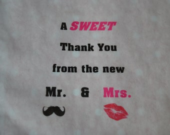 50 Wedding Candy Bags/Sweet Treats Wedding Favor Bags/Shower Bags/Candy Bags/Candy Buffet Bag _Sweet Thank You..Mr & Mrs