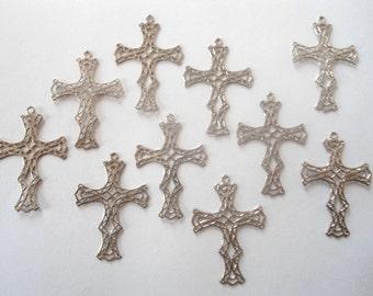 10 Vintage Silverplated Filigree Crosses