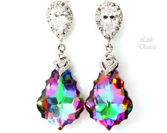 Colorful Jewelry Crystal Earrings Swarovski Crystal Baroque Bridesmaid Gift Brides Wedding Jewelry Cubic Zirconia Hypoallergenic EL30P