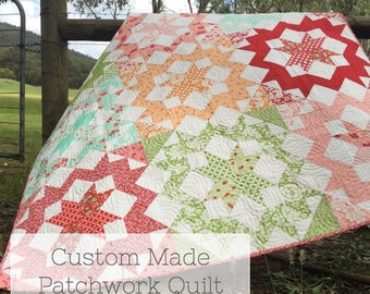 "Bespoke Custom Made Queen Size Patchwork Quilt, in ""Blush"" pattern. Handmade for you to your choice. Bed/Throw/Blanket."