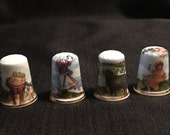 Mother Goose Sewing Thimbles Decorative Nursery Rhymes Set if Four Collectible Thimbles Humpty Dumpty