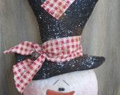 "Adorable Prim Christmas Snowman Ornie/Bowl Filler Shelf Sitter 8"" x 5"""