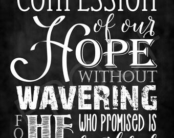 Scripture Art - Hebrews 10:23 NASB ~ Chalkboard Style