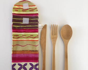 Bamboo Cutlery Pouch, Cutlery Pouch, Silverware Pouch, Cutlery Bag, Silverware Holder, Eco Friendly, Utensil Holder,, Bamboo Flatware,