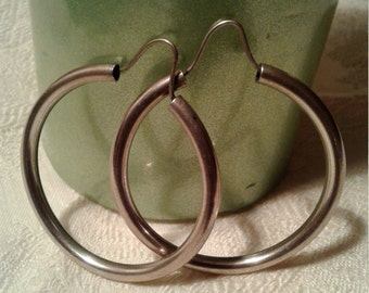 Vintage Sterling Silver Big Hoop Earrings
