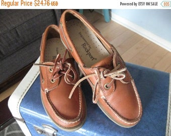 SALE Early 90's ROCKPORT Women's Leather tan Deck shoe Loafer US size 6  Slip on, Classic Leather upper, Little wear Leather Laces