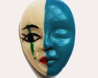 Women face brooch - Blue white - mask pin