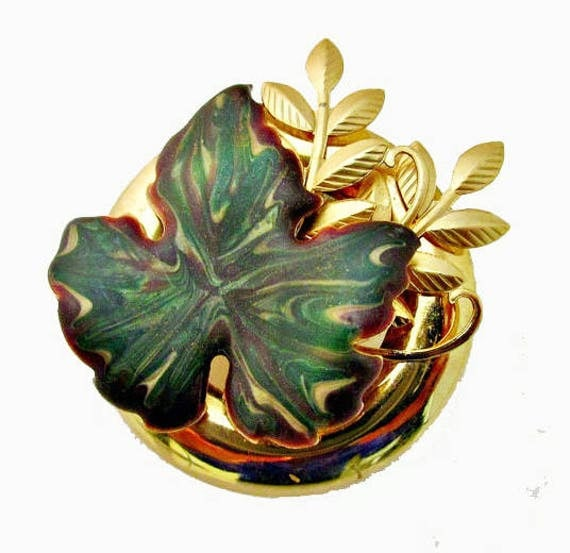 Leaf brooch - Green marbled molded celluloid enameling  - Gold tone Pin