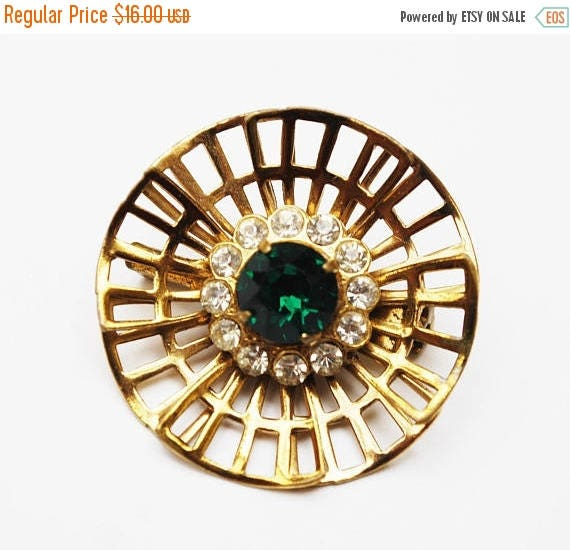 Green Rhinestone Floral Brooch - Gold Filigree -Clear crystal-  mid century - flower Atomic pin