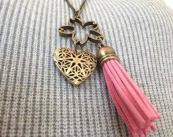 Sakura cherry blossom Heart Tassel Locket Necklace