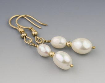 White Baroque Pearl Earrings w 14K Gold, Fine Pearl Wedding Earrings, Elegant Pearl Earrings, Real Pearls, Handmade Pearl Drop Earrings
