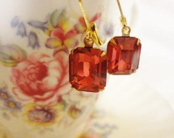 Bohemian Gypsy Earrings, Vintage Pink Rhinestone Earrings, Shabby Chic Earrings, Bridal Earrings, Victorian, Mori Girl,Bertha Louise Designs