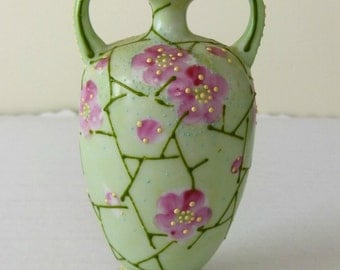 Vintage Moriage Vase - Two Handled - Hand Painted Pink Flowers - Beaded Urn