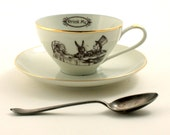 Alice in Wonderland Tea Party Cup Vintage Altered Tea Coffee Saucer Porcelain Lewis Carroll Whimsy Drink Me Mad Geekery Shabby Chic Romantic