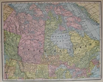 Antique CANADA MAP 1898 Vintage Map of Canada Gallery Wall Art Gift for Traveler Map Collector Gift 7133