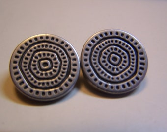 "Vintage 3/4"" Nickel Tone Textured Buttons, Set of 2 (1713)"