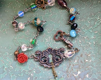 Vintage Style Necklace, Key Necklace, Fantasy Jewelry, Elvin, Fairy Jewelry, Dragonfly Necklace, OOAK