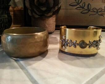 Vintage cuff bracelet & copper bangle