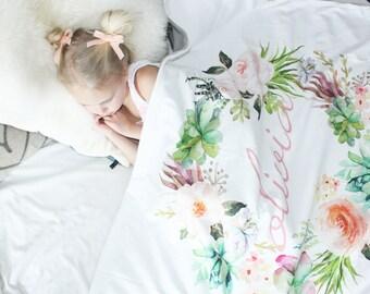 Watercolor Wreath Custom / Blanket / Newborn Blanket / Newborn Baby Blanket