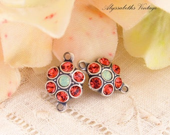 Swarovski Pink Padparadscha and Green Opal Rhinestone & Antique Silver Flower Connector Links 15x10mm - 2